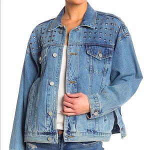 BlankNYC Oversized Metallic Studded Denim Jacket